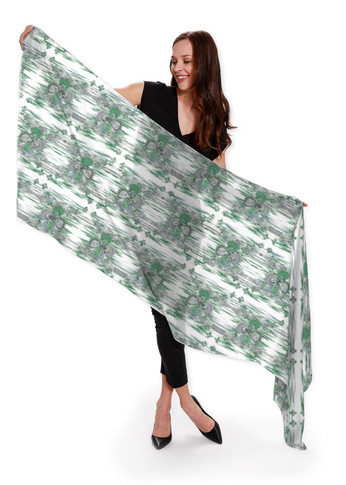 Clover in green - Cashmere Silk Scarf