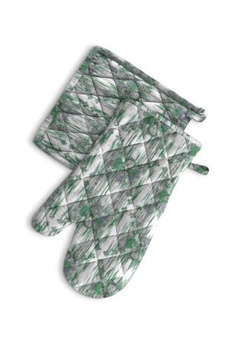 Clover in green - Oven Mitt and Potholder