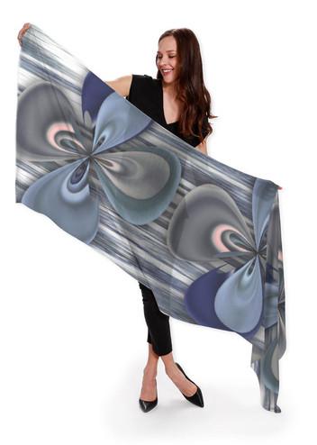 Clower in blue - Cashmere Silk Scarf
