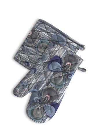 Clover in blue - Oven Mitt and Potholder