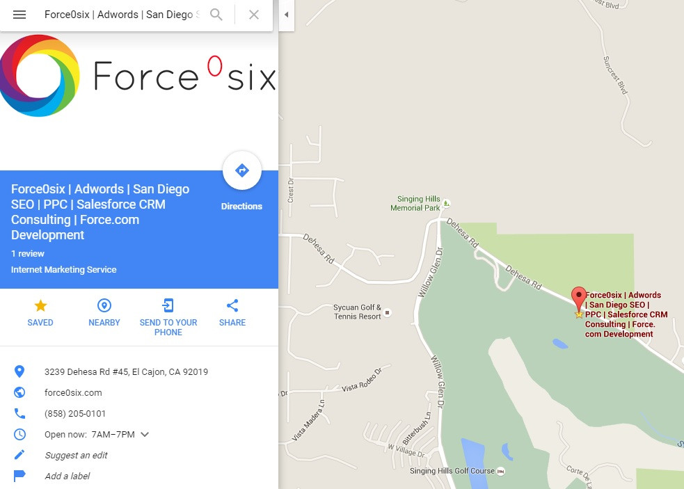 Google Business listings and Force0six