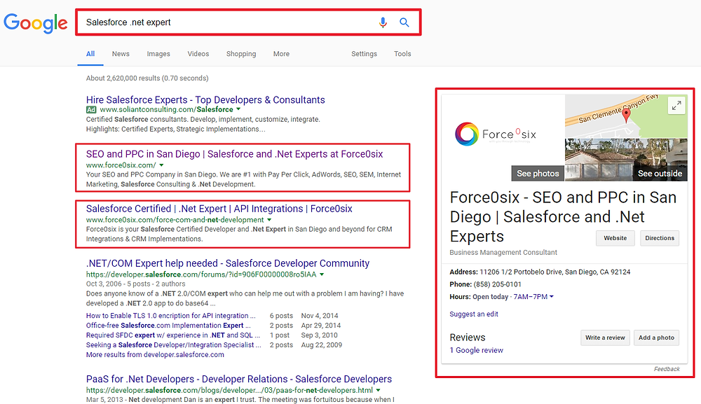 Force0six Google Business Page SEO