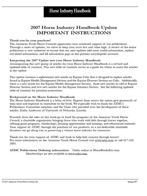 2007 Update - Horse Industry Handbook