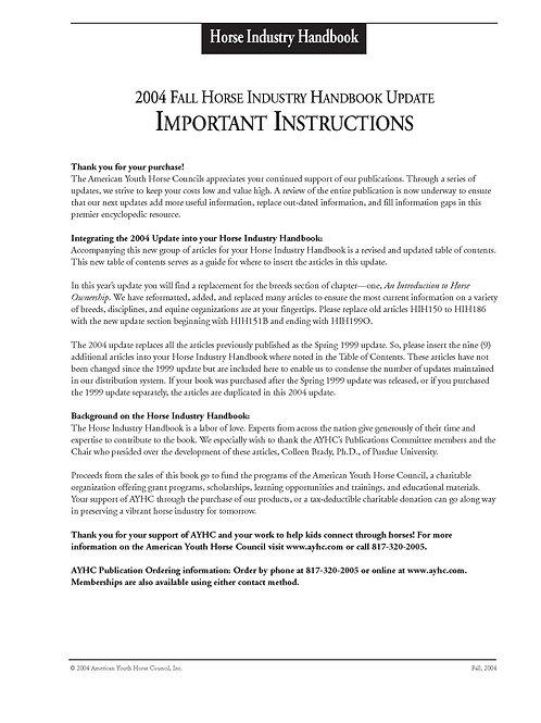 2004 Update - Horse Industry Handbook