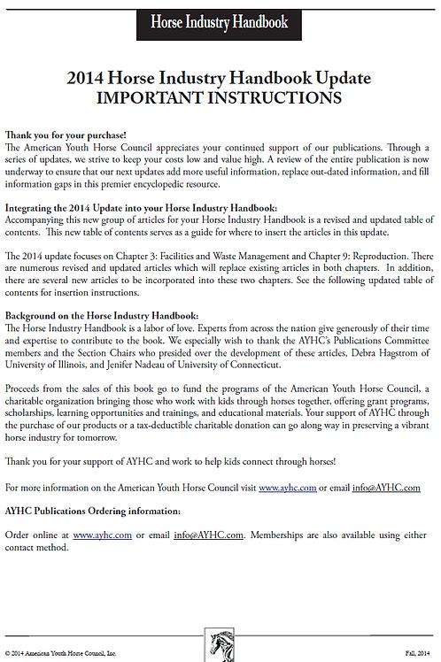 2014 update - Horse Industry Handbook
