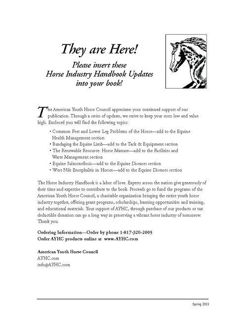 2003 Update - Horse Industry Handbook
