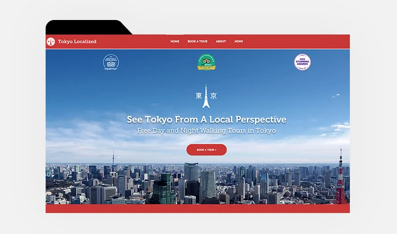 Homepage of Tokyo Localized's website with image of Tokyo