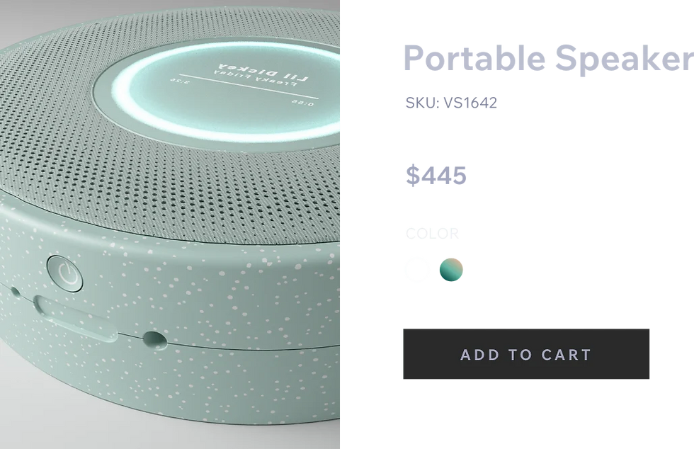 Pale green speaker for sale, priced at $445. Underneath is a button saying Add to Cart