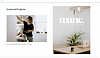 A website thumbnail for Lumo Design Studio, a design studio based in Perth and Brisbane. A photograph of a woman cooking in a white kitchen and a photograph of a work desk cover the homepage.