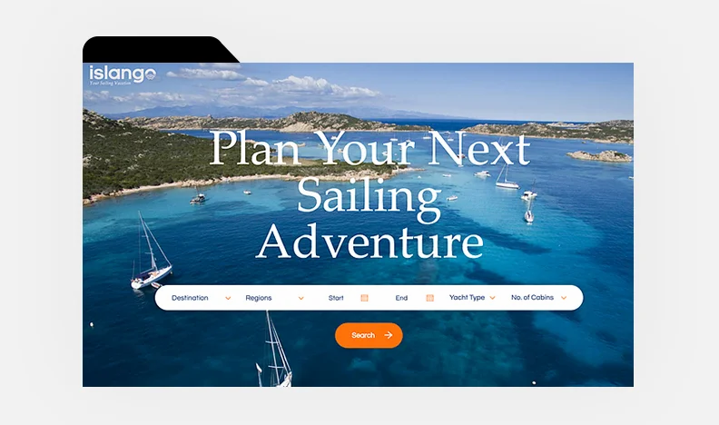 Homepage of Islango's website with image of boat