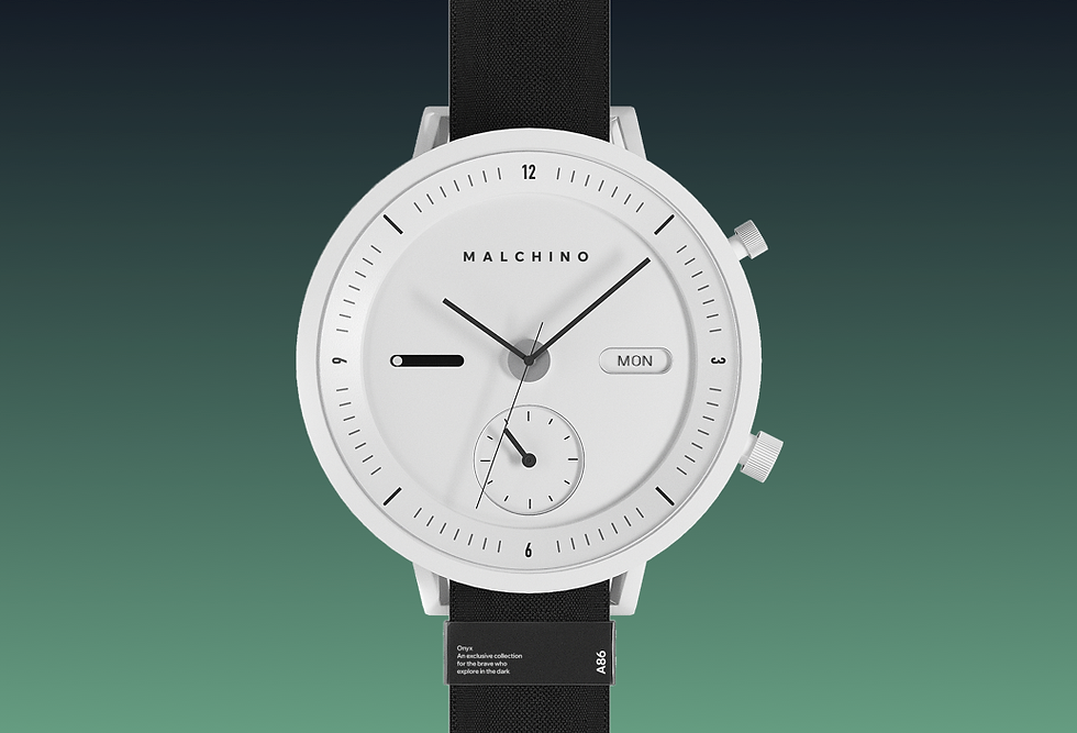 Black and white watch on a green background
