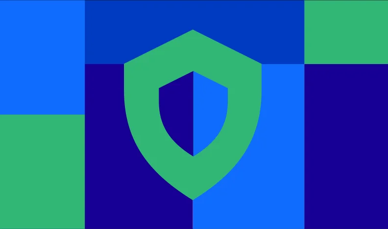 Green shield icon on blue and green background