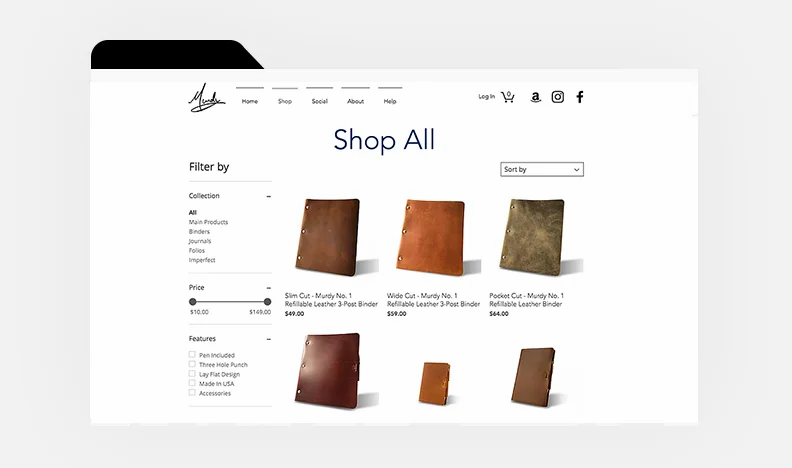 Homepage of Murdy Creative's website with leather journals