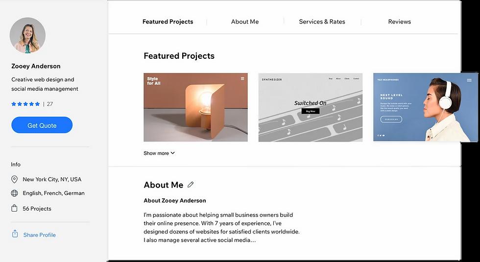 Web designer's profile in the Wix Marketplace.