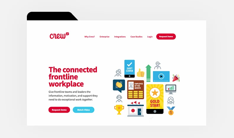 Homepage of Crew's website with colorful icons