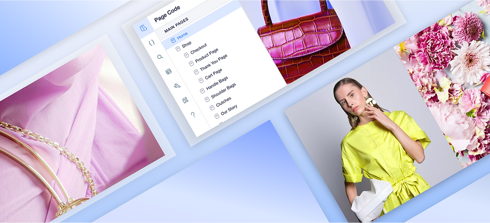 Image of a repeating layout on its side with an image of a handbags, a woman wearing a dress, flowers and jewelry. There is also a drop down menu showing page code options.