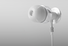 White earbud on a white background