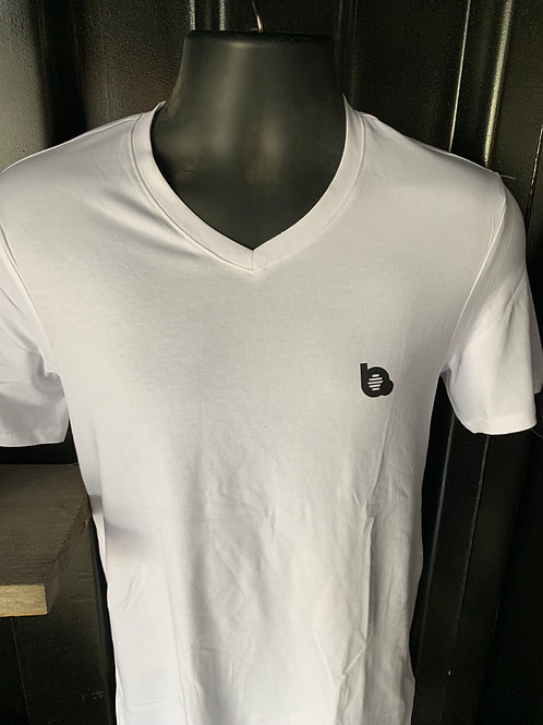 White T-shirt Beats of Golf with V-neck (small logo)