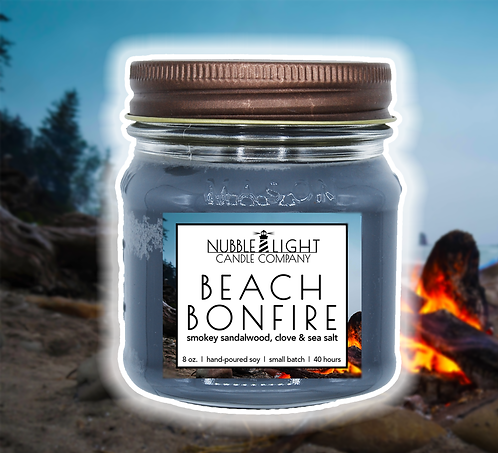 BEACH BONFIRE 8oz. Scented Soy Candle