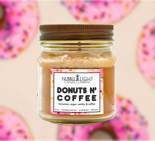 DONUTS N' COFFEE 8oz. Scented Soy Candle