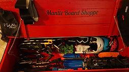 Inside the mobile board shoppe trailer