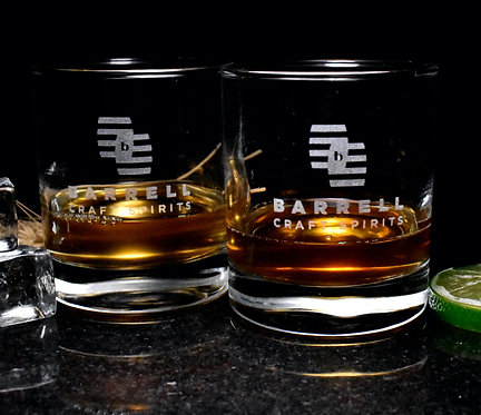 Etched Barrell Craft Spirits 10 oz Old Fashioned Glass