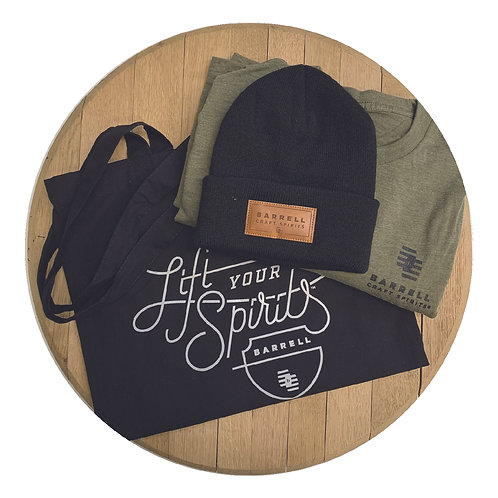 Barrell Shirt, Black Beanie, and Tote Bag Bundle