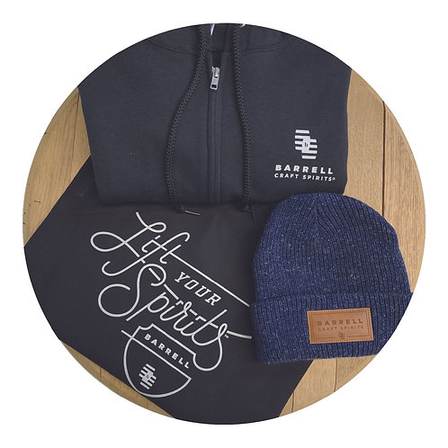 Barrell Hoodie, Blue Beanie, and Tote Bag Bundle