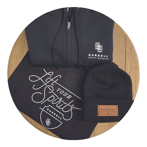 Barrell Hoodie, Black Beanie, and Tote Bag Bundle
