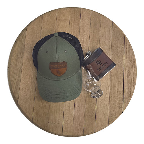 Barrell Hat, Flask, and Glencairn Glass Bundle