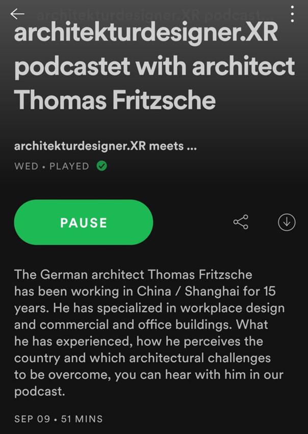 Podcast with Thomas Fritzsche on architekturdesigner.xr