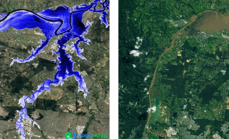 Shocking aerial maps and time lapses show true scale of flood disaster