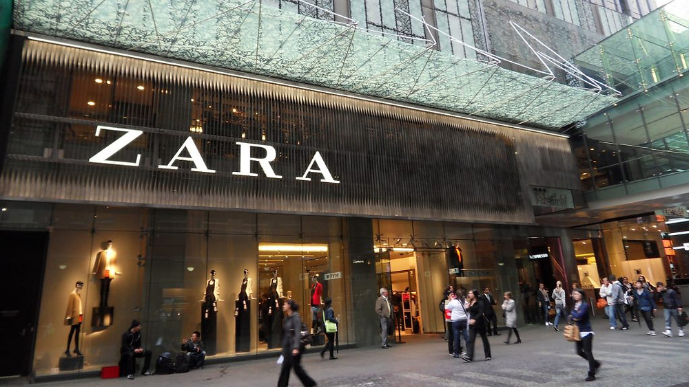 outside of Zara store