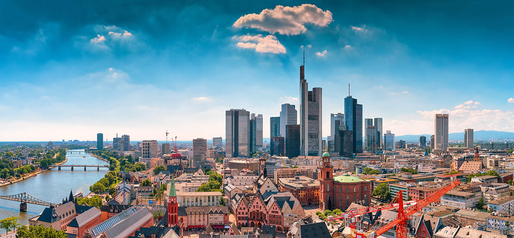 Frankfurt am Main skyline with blue sky.