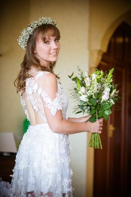 """Paula"" applique wedding dress with upcycled elements"