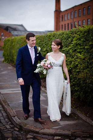 """""""Vicky"""" wedding gown with train."""