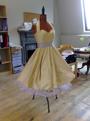 """Catherine"".1950's replica silk wedding dress."