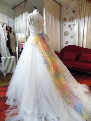 """""""Jen"""" customized wedding dress with sparkles and rainbow organza bow"""