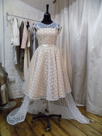 """Charlotte"".1950s style wedding dress with detachable train."
