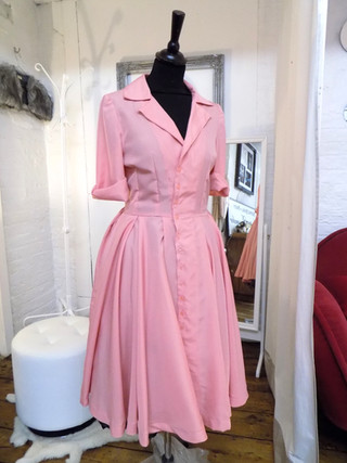 """Eva"". 1940's style shirt dress in pink crepe."