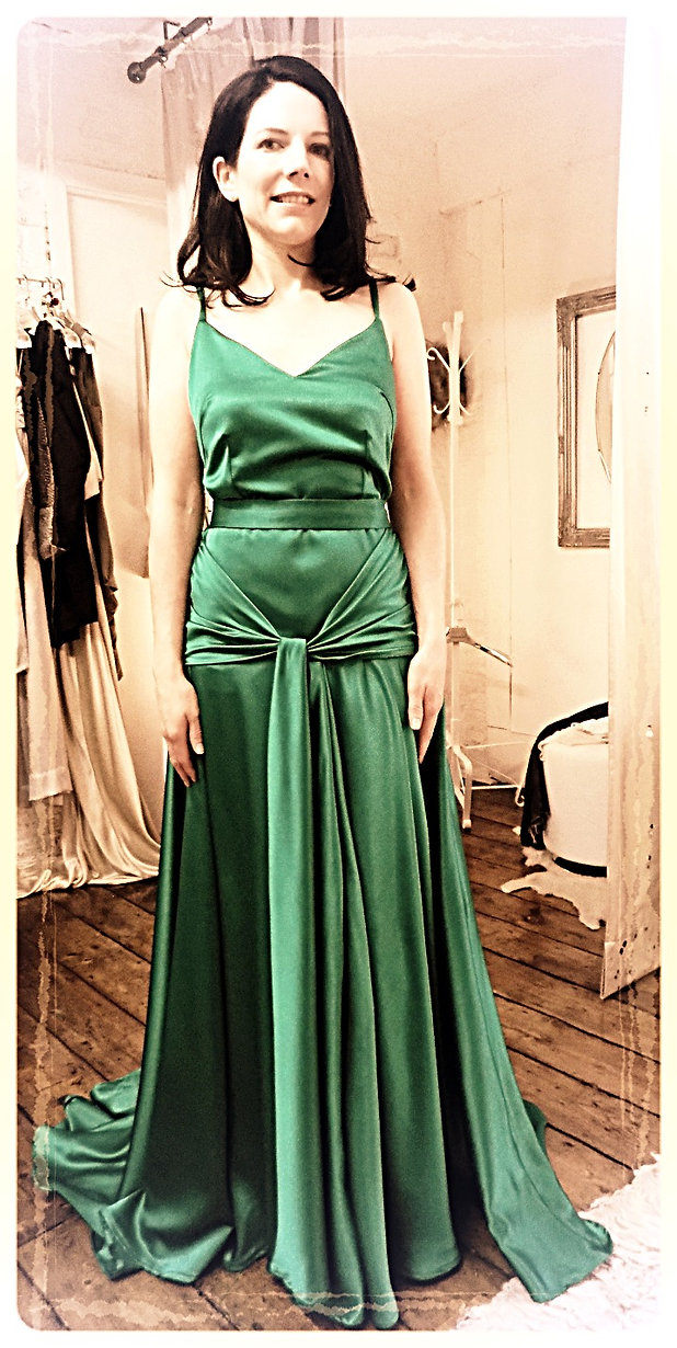 Bespoke silky satin 1930's style gown with a train