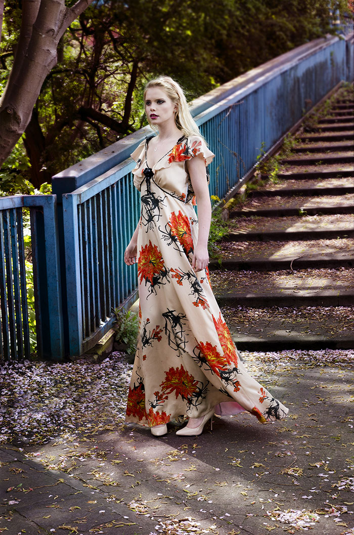 Japanese print gown
