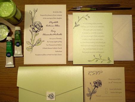Liz & Rory: Watercolour Rose Ink Wedding Stationery