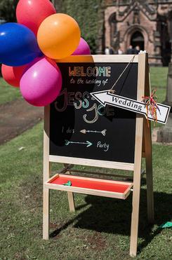 carnival wedding chalk board a frame