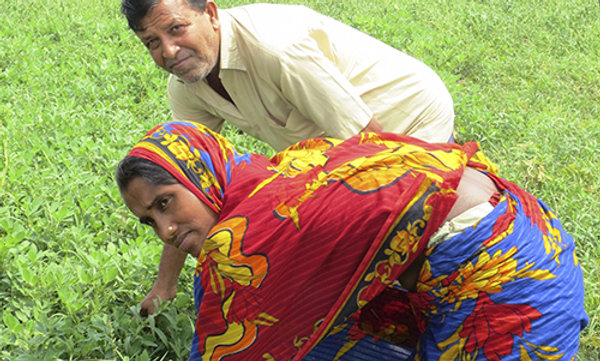 A man and woman bending over on a green field.