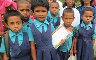 A group of children at a CDC in India