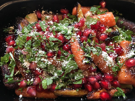 Charred Carrots with Pomegranate, Mint and Rosemary
