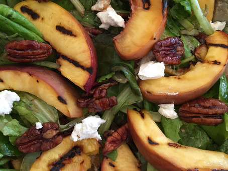 Grilled Peach Salad with Bacon Balsamic Vinaigrette