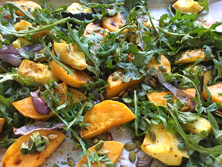 Roasted winter squash with arugula and basil