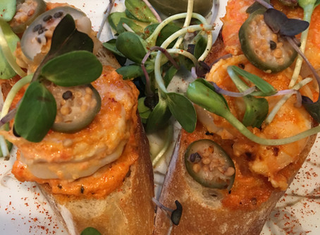 Red Pepper Rouille and Shrimp Toasts with Caper Berries